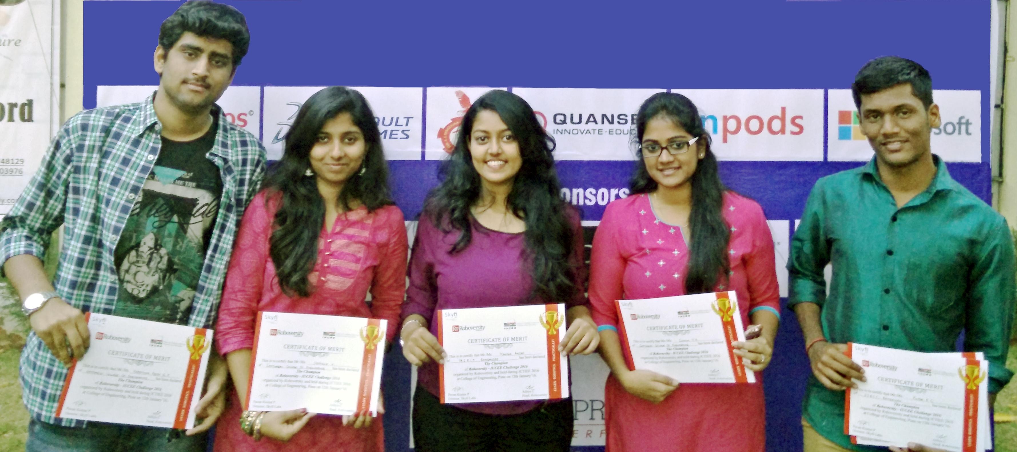 Roboversity IUCEE Challenge 2016 Winners