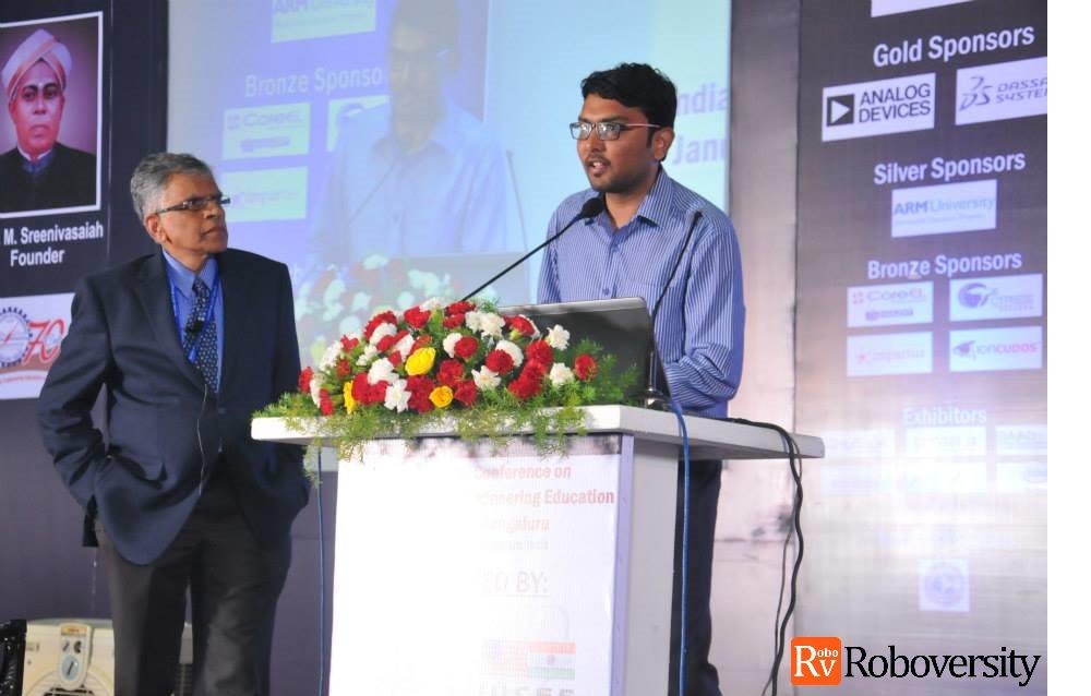IUCEE Executive Director Krishna Vedula with Skyfi Labs CTO Aditya Chundi at Roboversity IUCEE Challenge 2014 Finals
