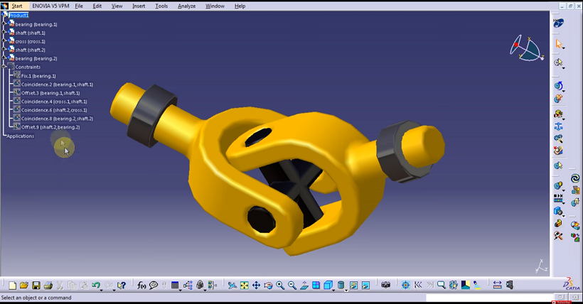 Assembly of Universal Coupling in CATIA - Part Design, Mechanism Design, Sheet metal and Surface modelling