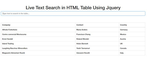 How to create a search table for a website