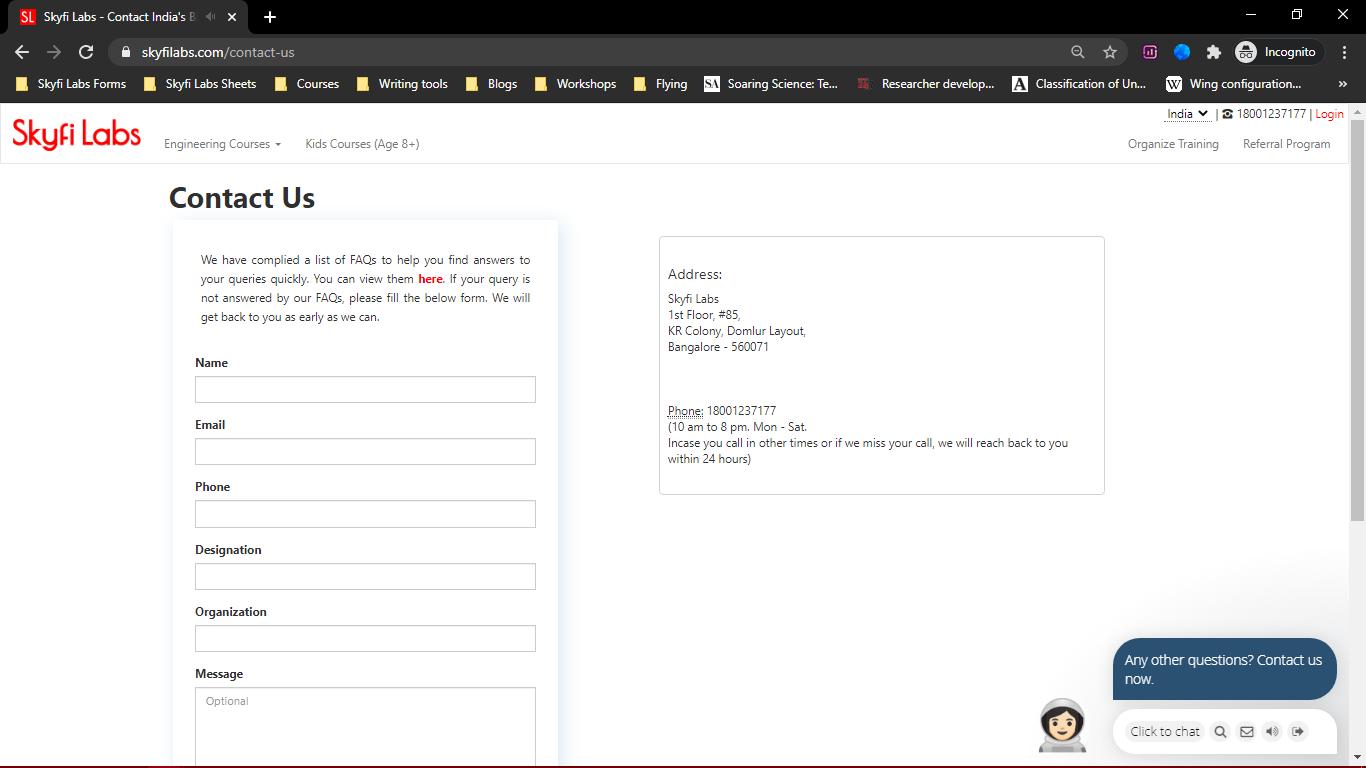 Webpage including form