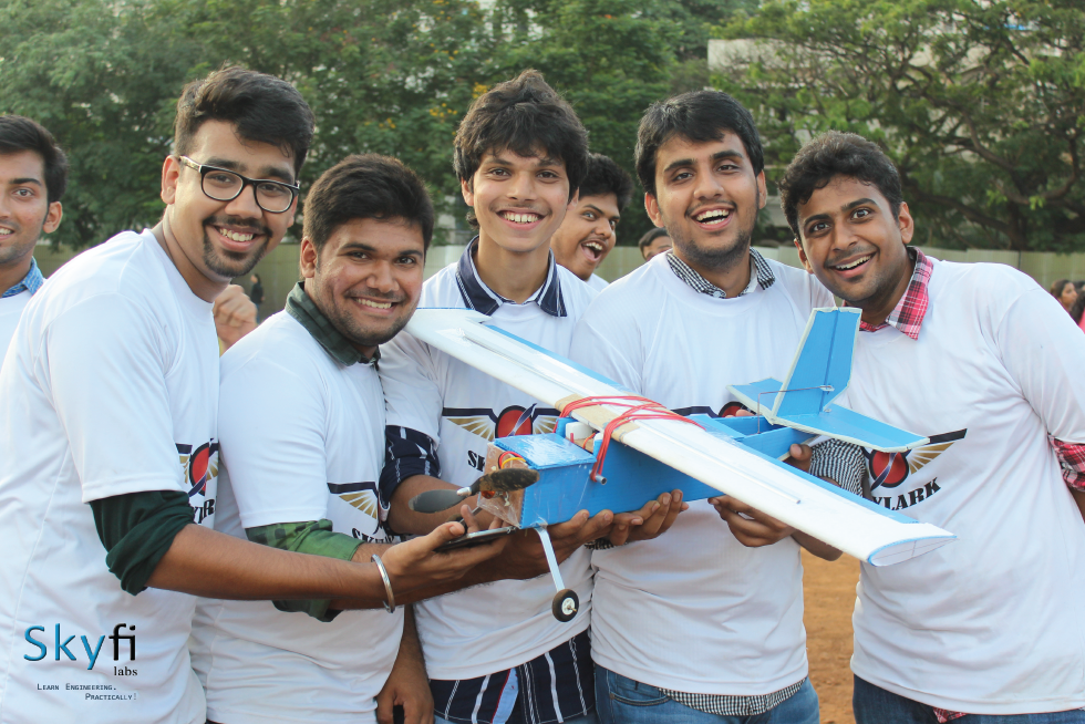 Image of Students with their RC Aircraft Model